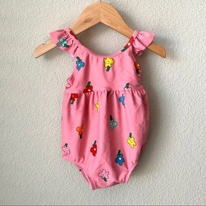 Hanna Andersson pink baby girl swimsuit 12-18 mos